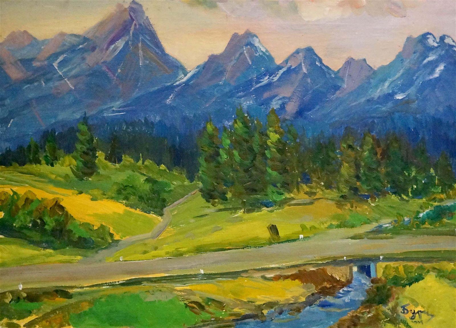 Oil painting Mountain landscape Kogan-Shats Matvey