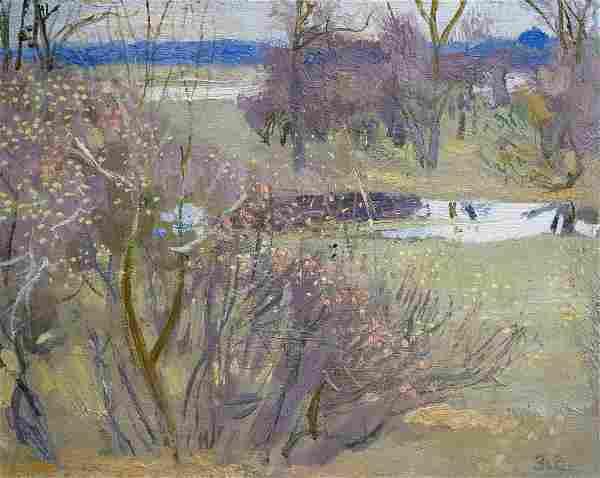 Oil painting Forest landscape Zaretsky Victor Ivanovich