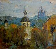 Oil painting Church landscape Dupliy Sergey