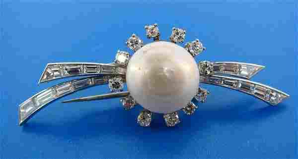 Van Cleef & Arpels Platinum Diamond Pearl Pin Brooch