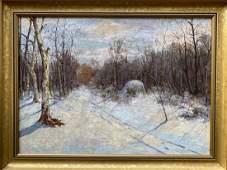 Oil painting Winter landscape Unknown artist