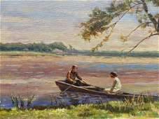 Oil painting Romantic evening Les Vladimir Stepanovich