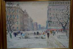 Oil painting City center Sergey Basov