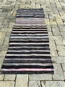 Early 20th c Rag Carpet, black bands
