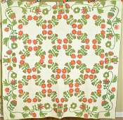 1850's Red & Green Applique Quilt, Urn Border