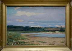 Oil painting River landscape Avetisyan Minas