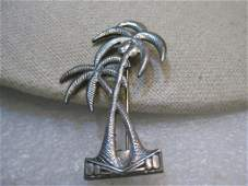 Vintage Sterling Silver Palm Trees Brooch - Art Deco,
