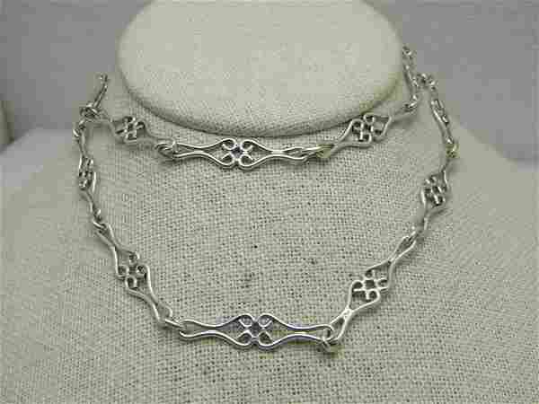 """Sterling Silver Scrolled Wide Necklace, 24"""", 27.44"""