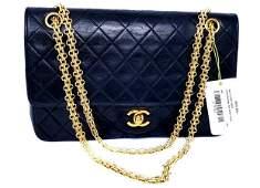 Chanel Medium 25 Double Flap Black Lambskin Shoulder
