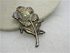 """Vintage Sterling Floral Stem Brooch, 2.75"""", Signed SB,"""