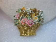 Vintage BSK My Fair Lady Brooch, Basket of Enameled