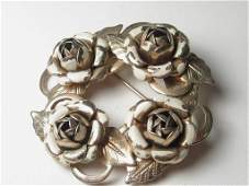 Vintage Gold Tone Mid-Century Circle Rose Brooch, White