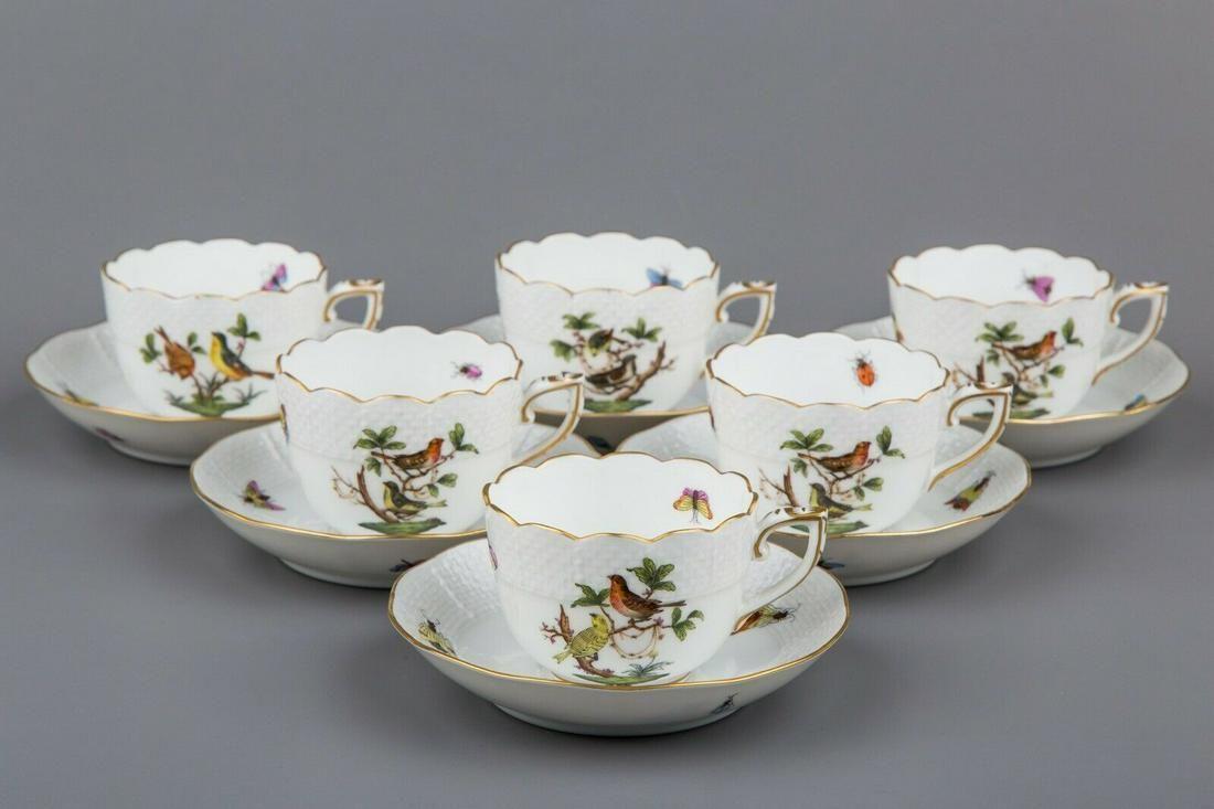 Set of Six Herend Rothschild Bird Coffee Mocha Cups