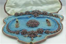 Victorian Vermeil and Garnet Necklace Pin Earrings and
