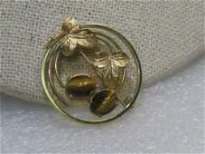 Vintage 14kt GF Tiger's Eye Brooch, Circle with Leaves