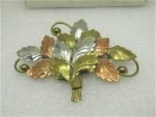 "Vintage Tri-Color Leaf Brooch, 3.5"" Wide, 2-7/8"" Tall,"
