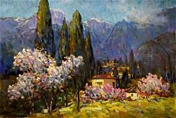 Oil painting Bakaev Sergey Ivanovich Blooming almond