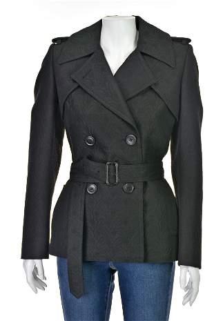 DRIES VAN NOTEN Black Jacquard Trench Jacket