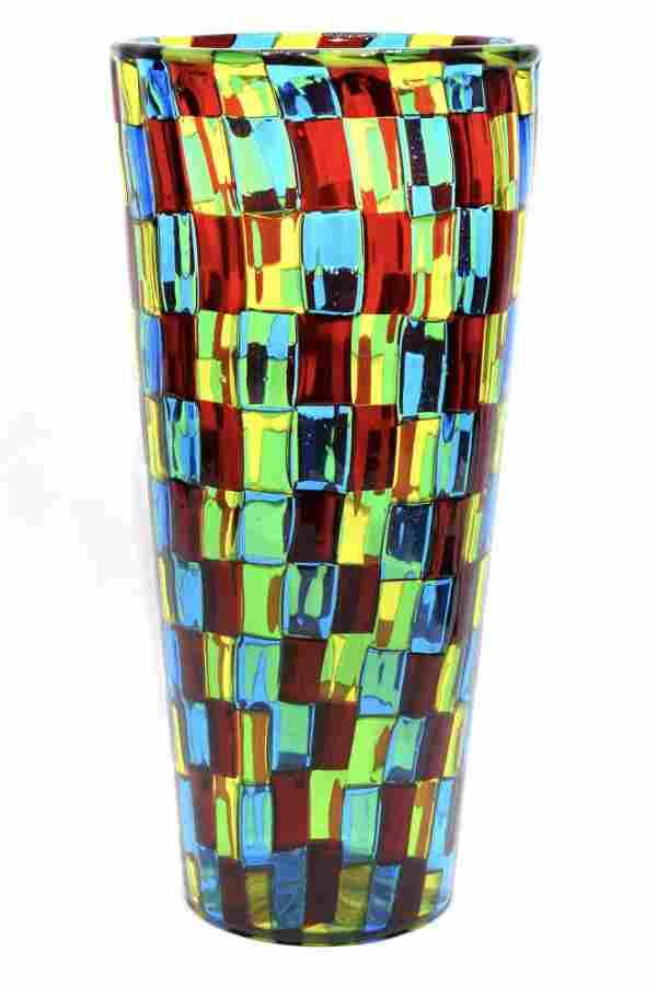 Rare Murano glass vase pezzato signed