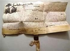 1607 Fine English Vellum Deed Red Wax Pendant Seal