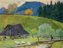 Oil painting Road to the mountains Sevastyanov Viktor