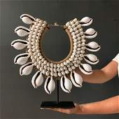 Decorative Shell Necklace on custom stand - Large White