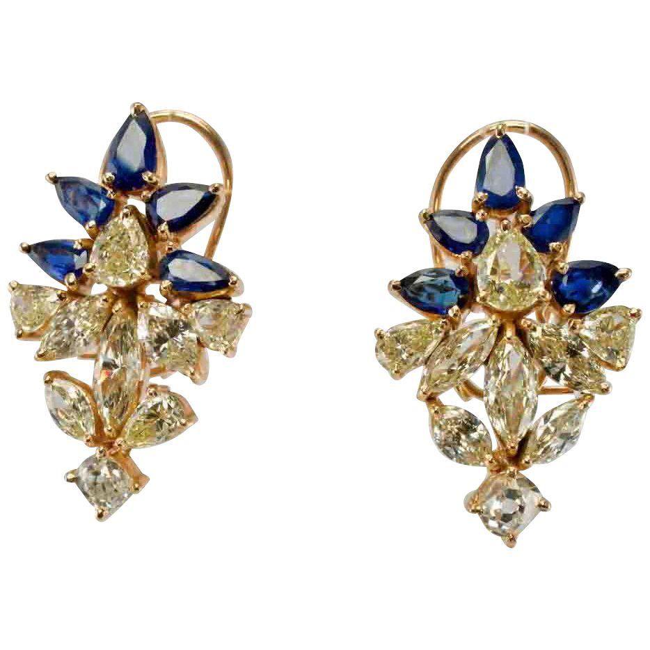 Diamond Sapphire Earrings Omega screw backs 14K Yellow