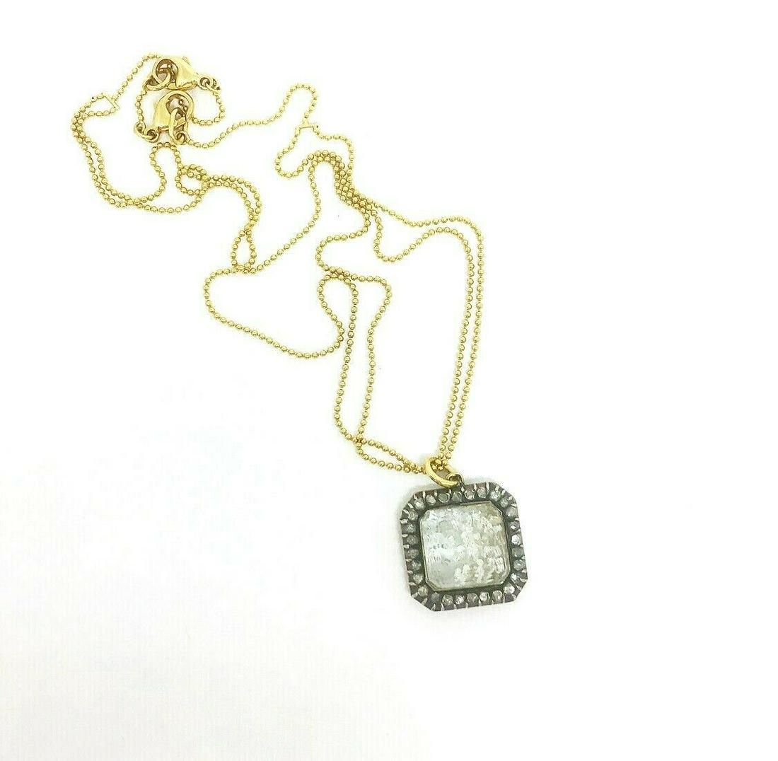 RENEE LEWIS Yellow Gold Ball Chain with Diamond Square
