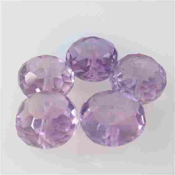 15.50 Ct Natural 5 Drilled Purple Amethyst Round Beads