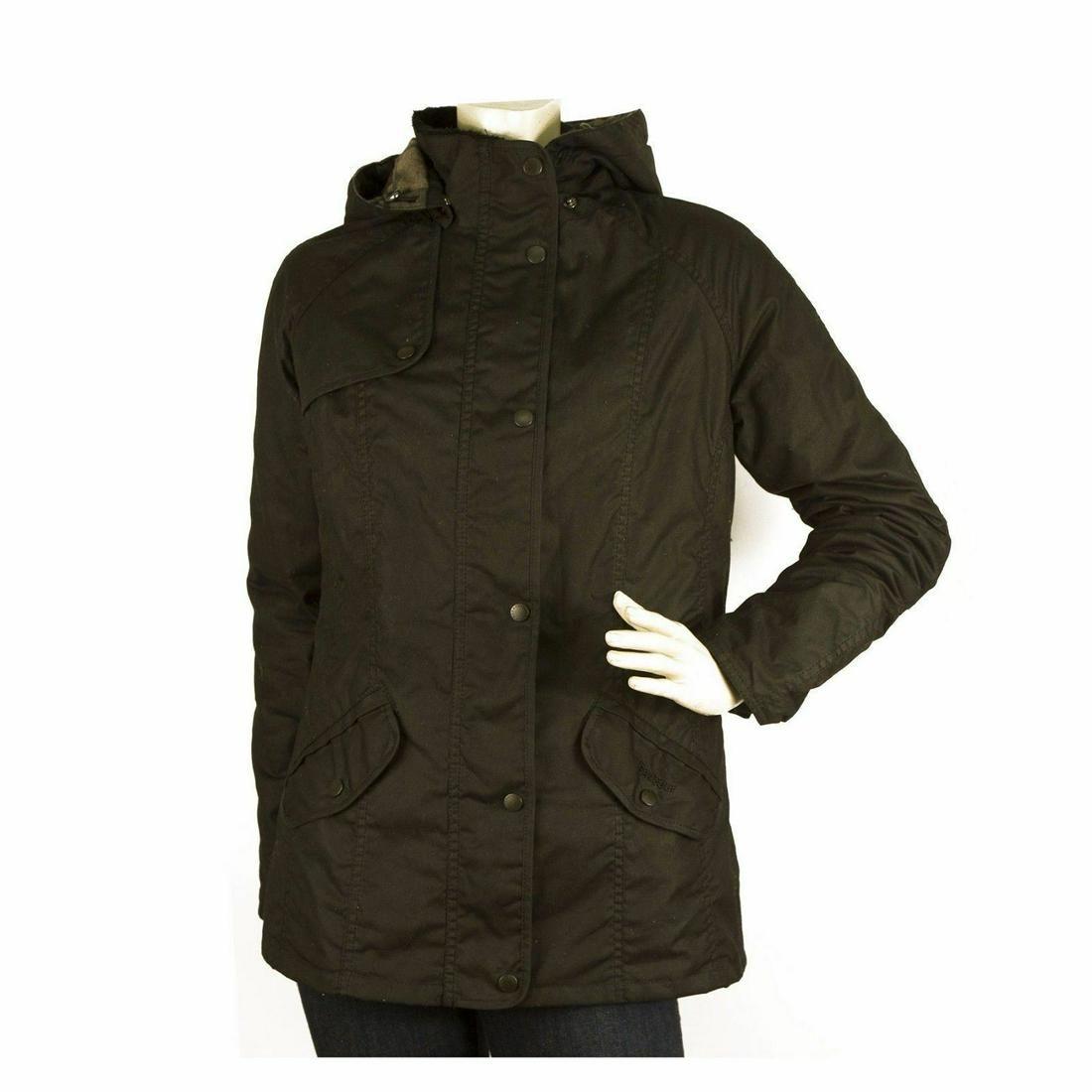 Barbour Millfire Black Hooded Wax Jacket w. Tartan