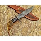 Survival damascus steel knife ram horn handle