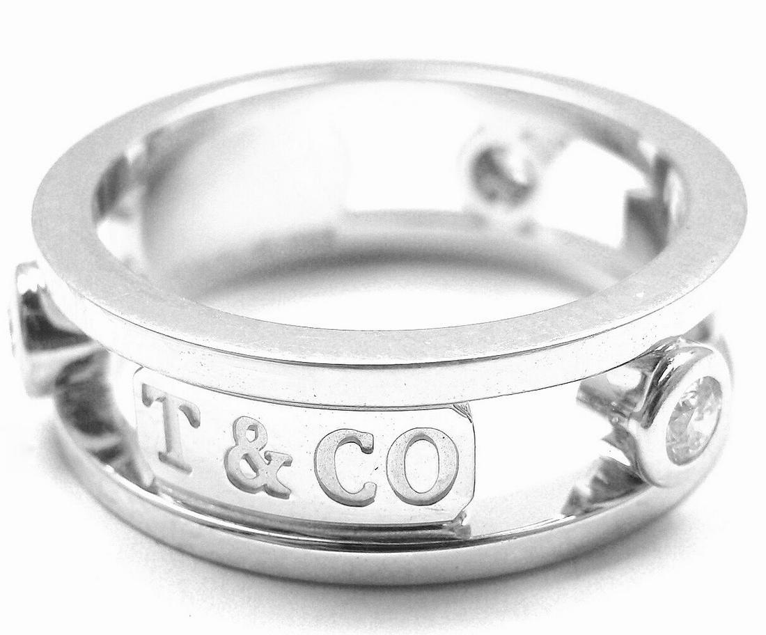 "Authentic! Tiffany & Co. 18k White Gold Diamond ""1837"""