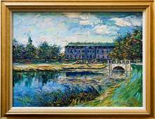Beautiful Original Oil On Canvas Lake Scenery