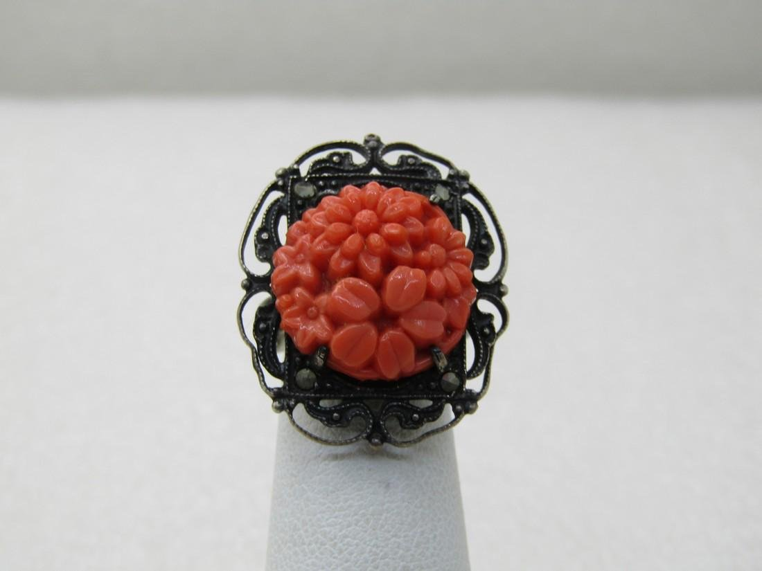 Vintage Early 1900's Carved Coral Ring, Marcasites, Sz.