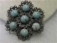Vintage Brooch, Silver tone Filigree Blue Stone Art