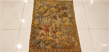 Antique French Aubusson Tapestry 2 horses