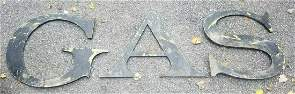 """Large antique letters from GAS station steel 21"""" 1950's"""