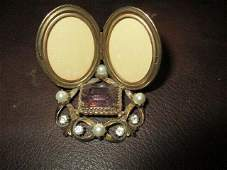 BB ANTIQUE DOUBLE SWEETHEART MINATURE JEWLED PICTURE