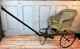 Antique Pre 1925 Wicker Child's Pull Cart With Photo