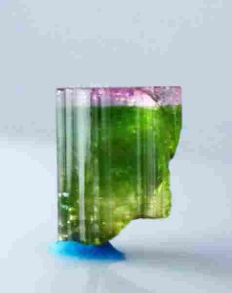 Natural & unheated~ Pink Cap Green Tourmaline Crystal