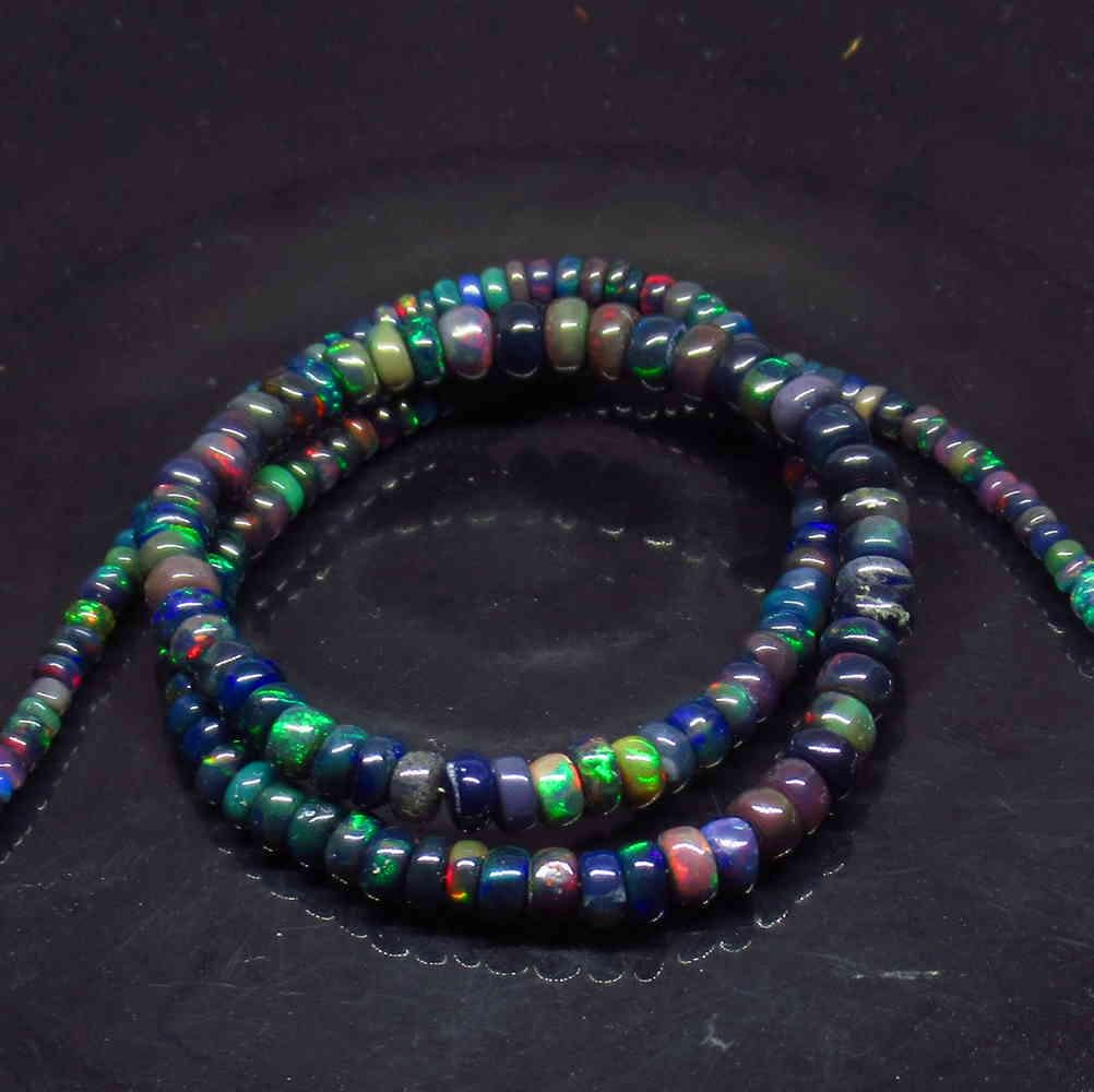 45.00 Ct 925 Silver 181 Natural Black Fire Opal Beads