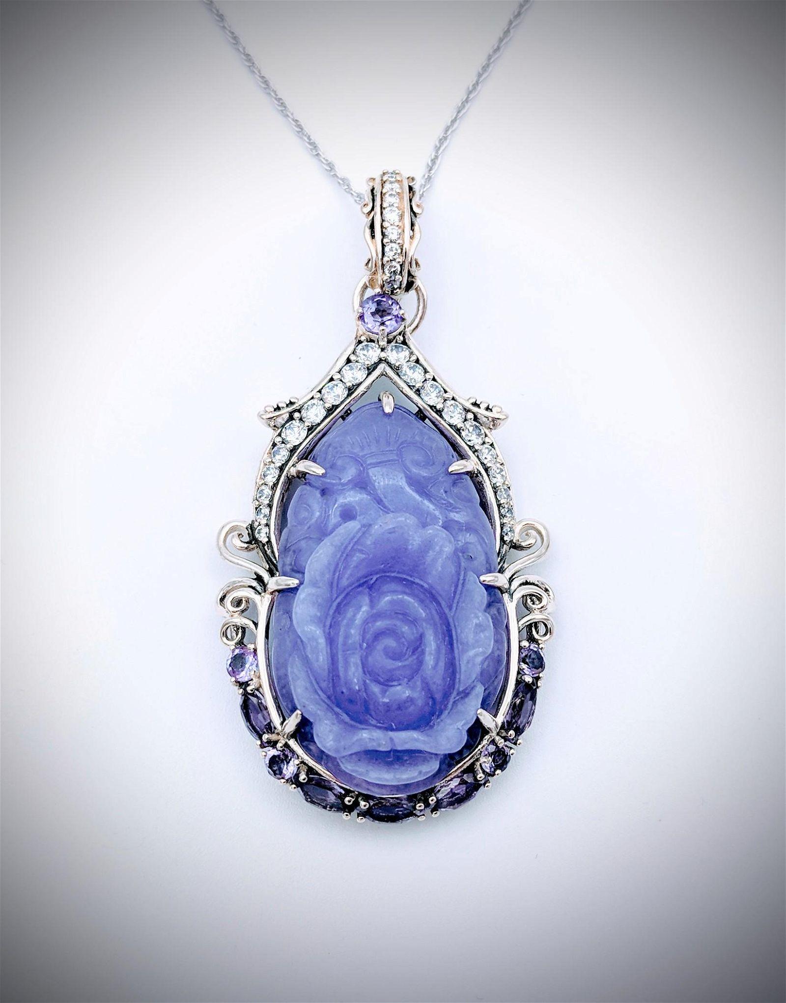 Sterling Silver Necklace & Pendant w Rose Carved Violet
