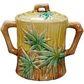 19th C Majolica Sugar Bamboo Design Griffen, Smith,