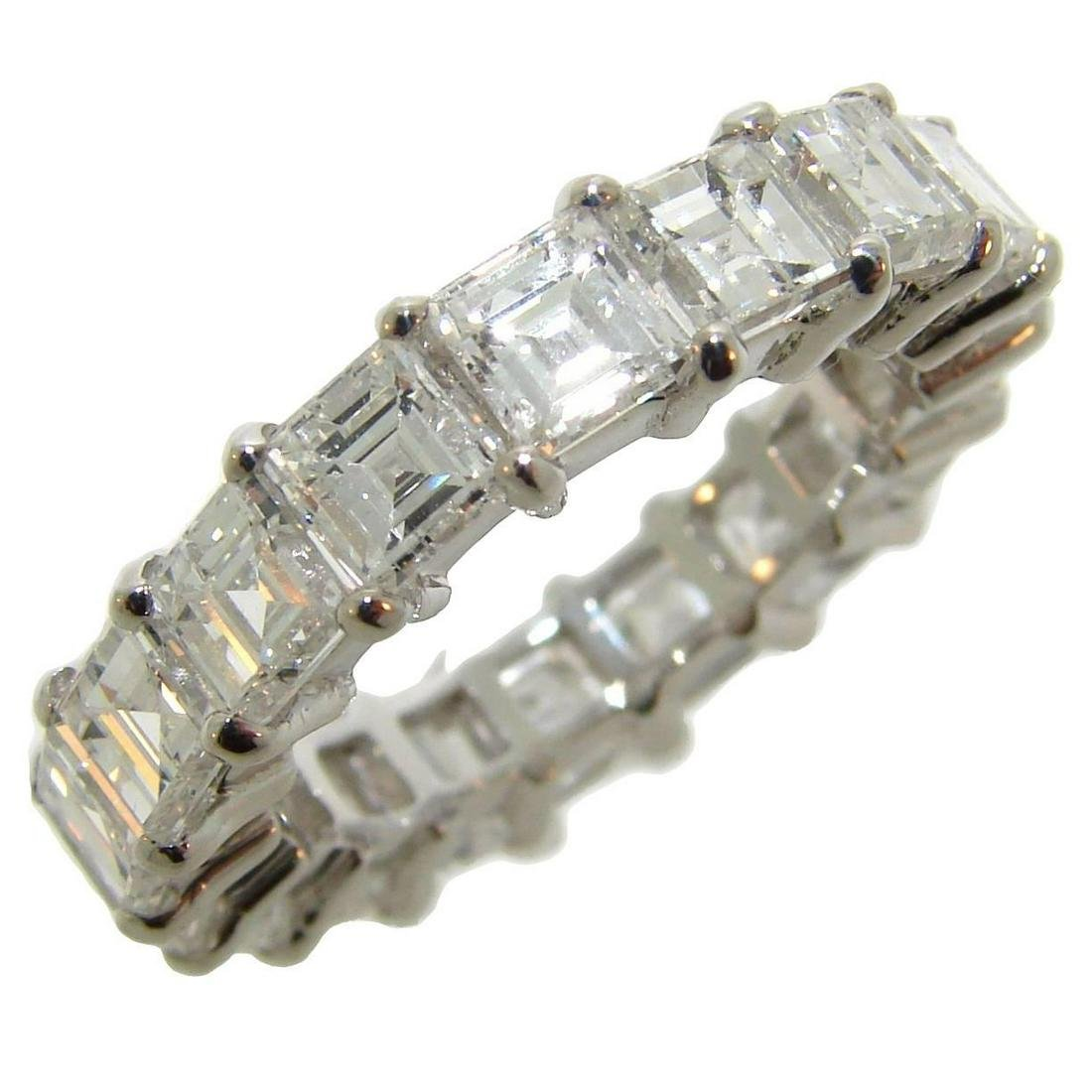 Square Step Cut Diamond Gold Eternity Band Ring Size