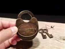 Cast Iron Winchester Firearms Ammo Box Padlock Lock &