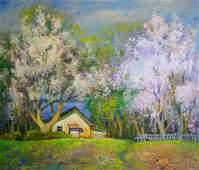 Oil painting Trees are blooming Mynka Alexander