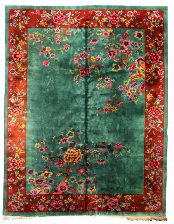 Handmade antique Art Deco Chinese rug 8.10' x 11.6'