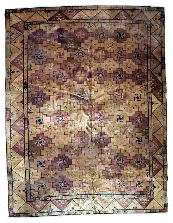 Handmade antique Art Deco Chinese rug 8.6' x 11' (262cm