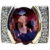 Laura Ramsey Diamond Pink Tourmaline Ring 18K Gold Band