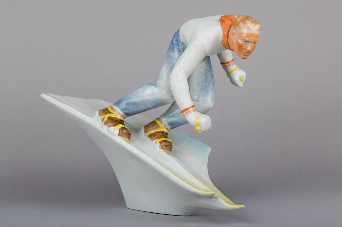 Antique Herend Large Partially Glazed Skier Man